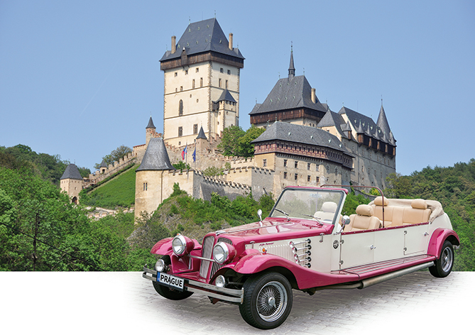 Castle Karlštejn trip by vintage car 21.02.2019